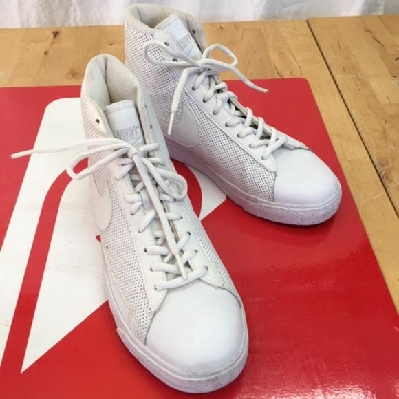 Nike Blazer Mid White//White-White 318705-112 Grade-School